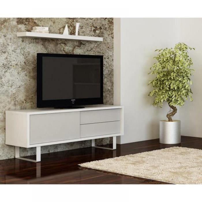 Milo meuble tv design laque blanc achat vente meuble for Achat meuble design