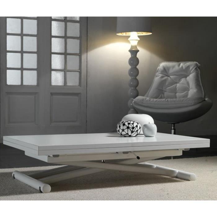 Volita table basse relevable et extensible en bois blanc for Table basse et haute a la fois