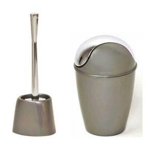 Poubelle wc achat vente poubelle wc pas cher soldes cdiscount - Accessoire salle de bain gris ...