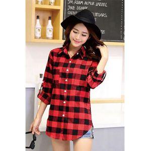 chemise a carreaux rouge femme achat vente chemise a. Black Bedroom Furniture Sets. Home Design Ideas