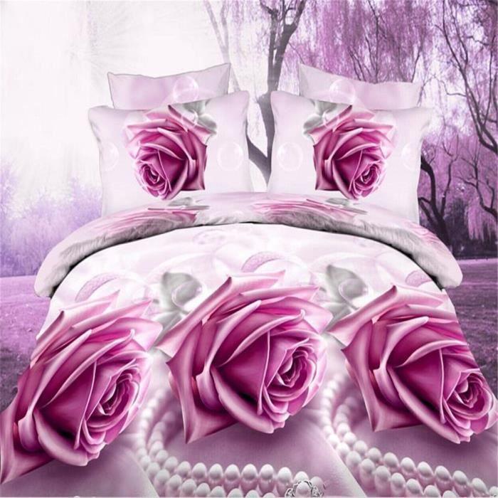 parure de couette parure de lit belles fleurs rose 1 housse de couette 220x24. Black Bedroom Furniture Sets. Home Design Ideas