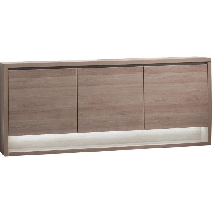 bahut 3 portes coloris ch ne clair achat vente. Black Bedroom Furniture Sets. Home Design Ideas
