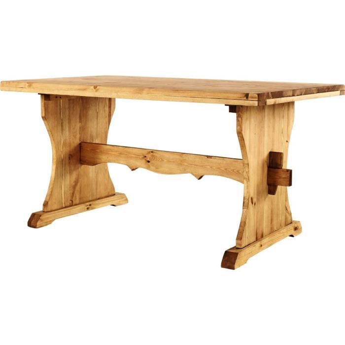 Table monast re pin massif 160 x 90 cm edelweis achat - Table cuisine pin massif ...