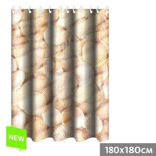 Rideau de douche coquillages 180x180 cm polye achat vente rideau de douche polyester - Rideau de douche 180x180 ...