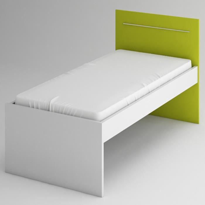 lit simple virca coloris blanc lime l990 x h80 achat vente structure de lit soldes d. Black Bedroom Furniture Sets. Home Design Ideas