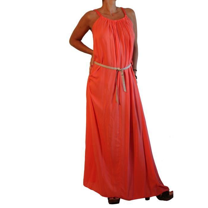 waooh robe longue grande no line corail orange. Black Bedroom Furniture Sets. Home Design Ideas