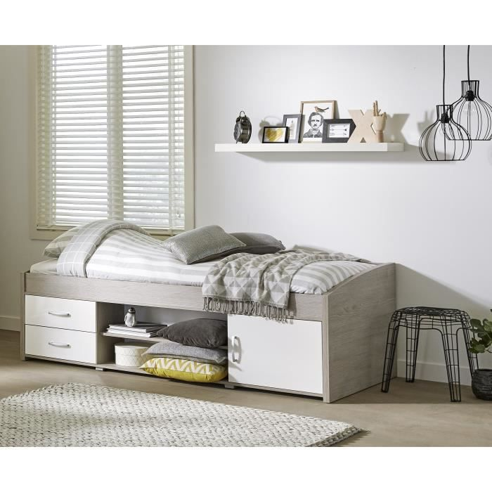 yanniek lit enfant 90x200 cm d cor ch ne gris et blanc. Black Bedroom Furniture Sets. Home Design Ideas