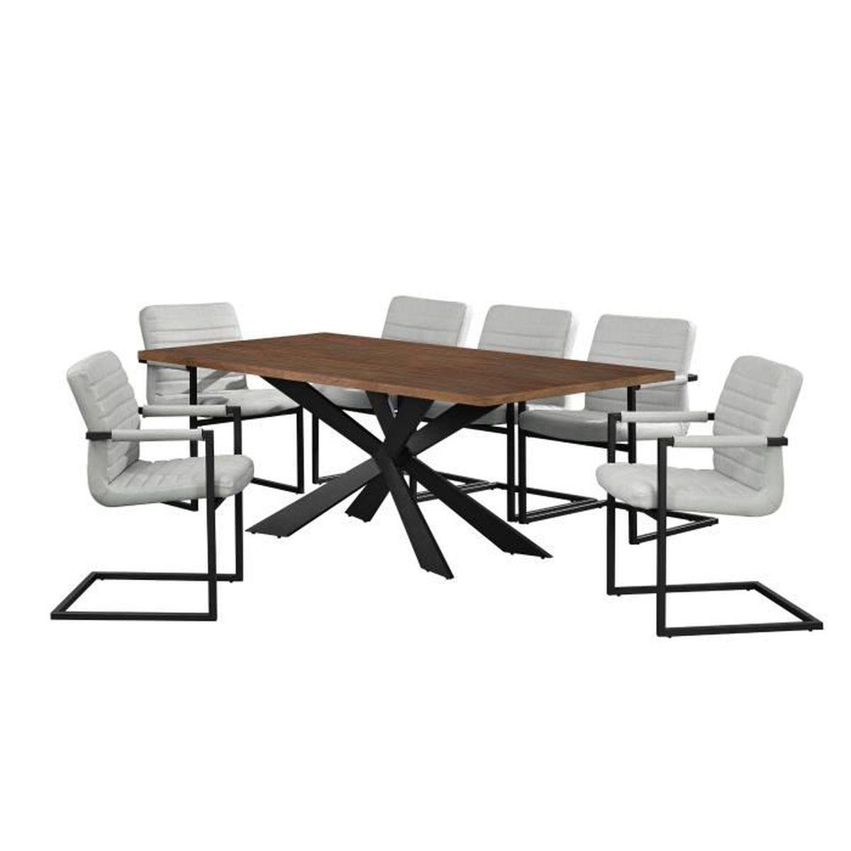 Table de salle manger noix avec 6 chaises - Chaises de table a manger ...