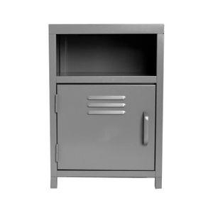 chevet metal gris achat vente chevet metal gris pas cher cdiscount. Black Bedroom Furniture Sets. Home Design Ideas