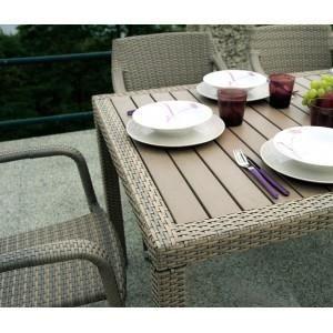 Table Rectangulaire Bordeaux En Rotin Synth Tiq Achat Vente Table De Jardin Table