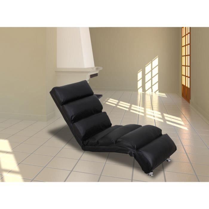 chaise longue capitonn e en cuir reconstitu noire achat. Black Bedroom Furniture Sets. Home Design Ideas