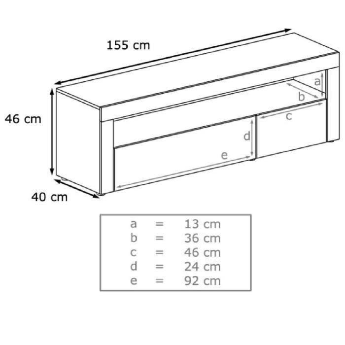 Meuble tv blanc et noir 155 cm - Achat / Vente meuble tv ...