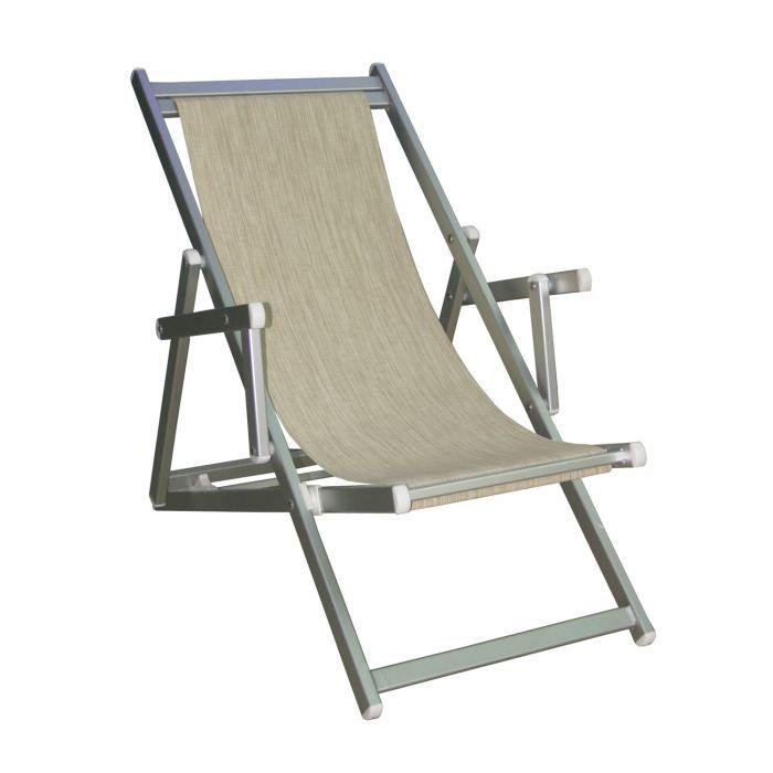 Chilienne transat mare en textil ne beige achat vente - Chilienne chaise longue ...