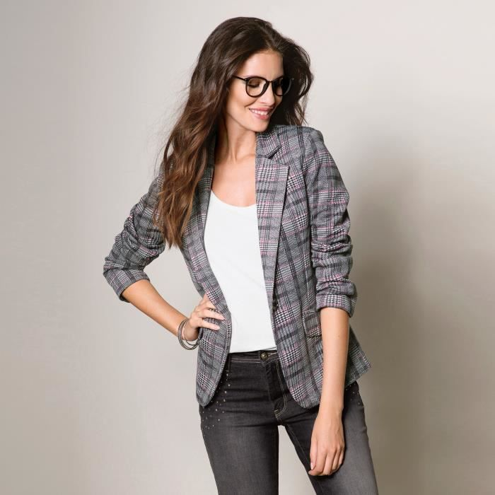 veste carreaux femme venca noir achat vente veste. Black Bedroom Furniture Sets. Home Design Ideas