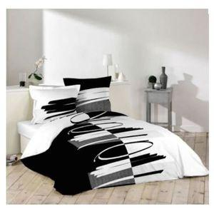 Housse de couette 240x260 noir et blanc achat vente - Housse de couette pas cher 240x260 ...
