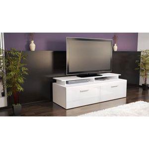Meuble tv bas blanc laque achat vente meuble tv bas blanc laque pas cher - Meuble bas tv blanc laque ...