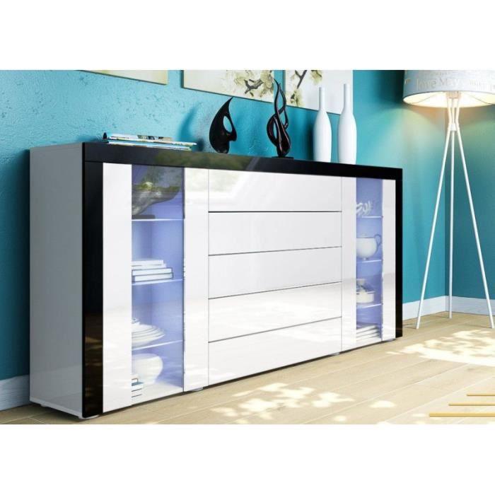 bahut design vitr blanc avec bordure noir achat vente buffet bahut bahut design vitr. Black Bedroom Furniture Sets. Home Design Ideas