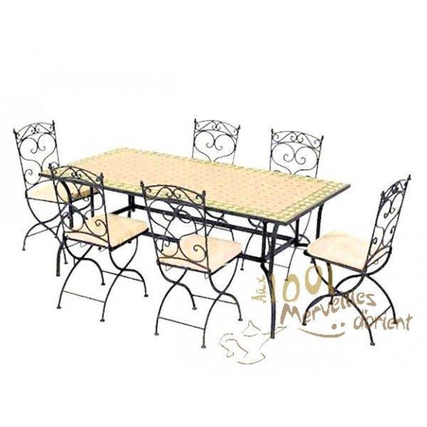 Ensemble table 180 90 cm et 6 chaises marocain achat - Ensemble table et 6 chaises ...