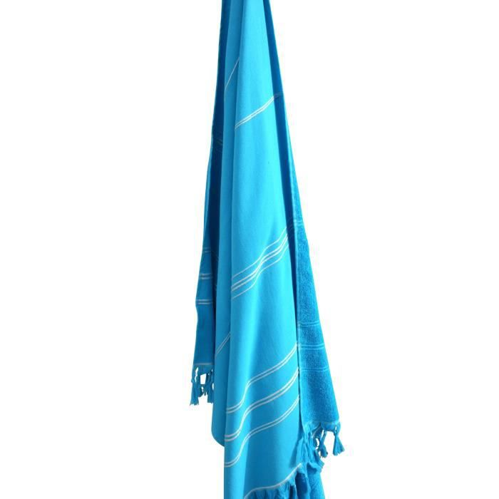 drap de plage fouta ponge tislim 100x200 cm turquoise. Black Bedroom Furniture Sets. Home Design Ideas