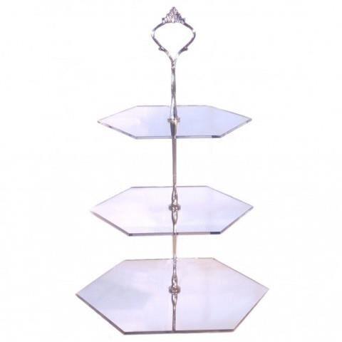 Hexigon g teau 3 niveaux reposer en argent miroir for Miroir acrylique incassable