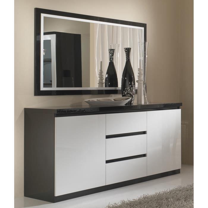 bahut 2 portes 3 tiroir roma noir blanc l 165 cm achat vente buffet bahut bahut 2 portes 3. Black Bedroom Furniture Sets. Home Design Ideas