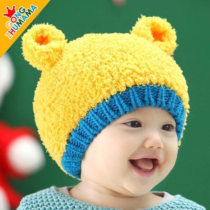 chapeau pour b b 0 12 mois d 39 automne et d 39 hiver petit chapeau jaune achat vente. Black Bedroom Furniture Sets. Home Design Ideas