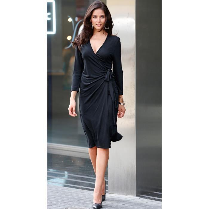 robe manches 3 4 imprim e femme noir achat vente robe cdiscount. Black Bedroom Furniture Sets. Home Design Ideas