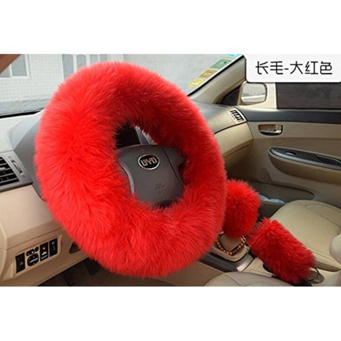 kit de couvres peluche pour volant pommeau de leviers de vitesse poing e frein main rouge. Black Bedroom Furniture Sets. Home Design Ideas