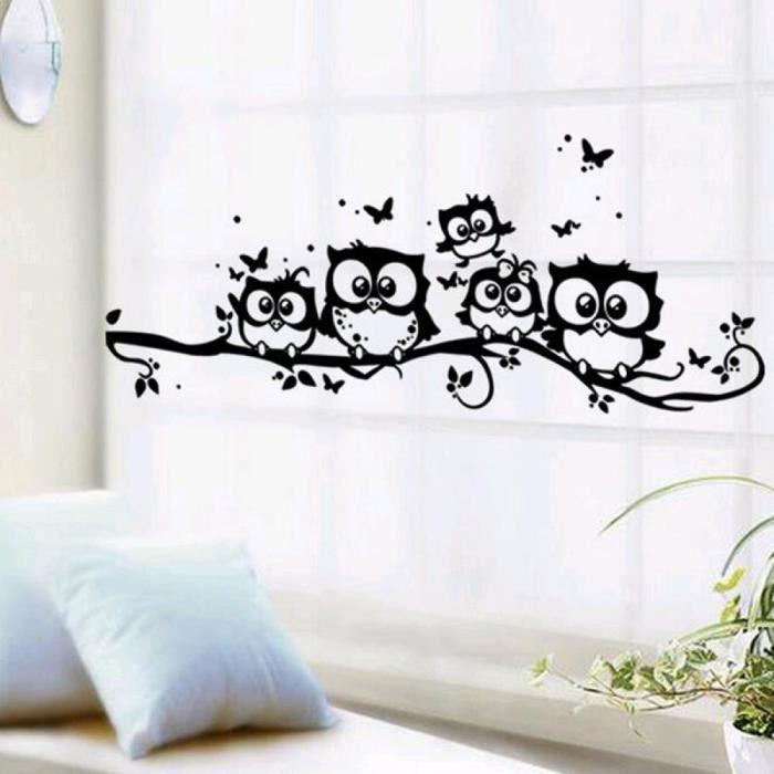 Hiboux sur arbres stickers muraux pour enfants chambres for Pegatinas de decoracion para dormitorios