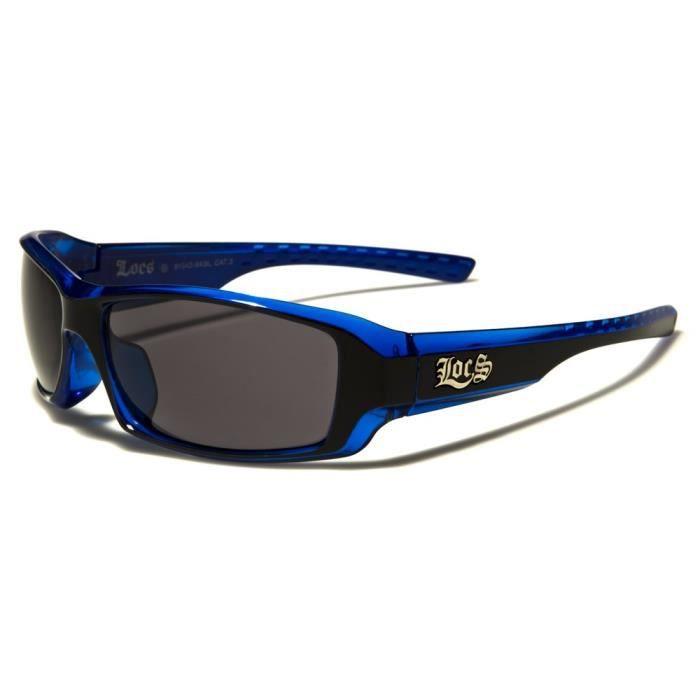lunette de soleil locs bleu et noire biker chopper motard homme neuf achat vente lunettes de. Black Bedroom Furniture Sets. Home Design Ideas