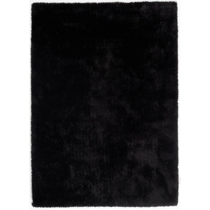 tapis shaggy a poils long colourcourage noir 2 achat vente tapis cdiscount. Black Bedroom Furniture Sets. Home Design Ideas