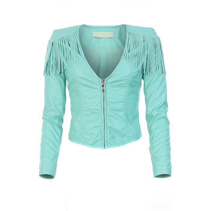 veste franges en simili cuir vert d 39 eau vert d 39 eau achat vente veste veste franges en. Black Bedroom Furniture Sets. Home Design Ideas
