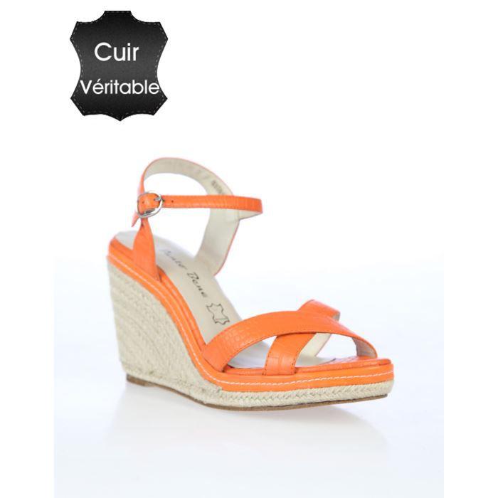 Sandales compensées ORANGE Achat / Vente Sandales compensées