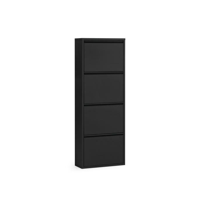 meuble chaussures m tallique noir 4 portes calix achat. Black Bedroom Furniture Sets. Home Design Ideas