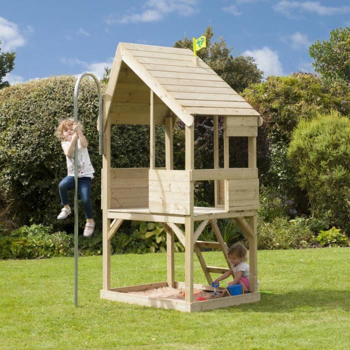 Maison enfant en bois outdoor toys tp chalet achat for Maison plein air enfant