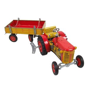 voiture camion tracteur remorque rouge jouet mecanique avec moteu
