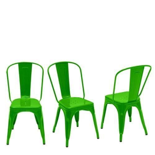 chaise en m tal vert laqu loft lot de 2 achat vente chaise m tal cdiscount. Black Bedroom Furniture Sets. Home Design Ideas