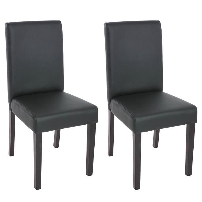 2 chaises de salle manger similicuir noir mat achat for Chaise de salle a manger noir