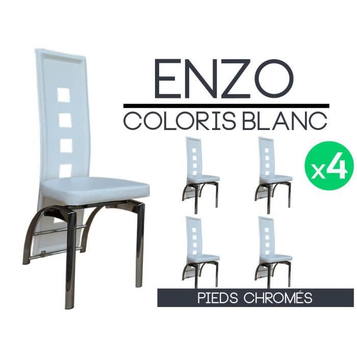 Enzo lot 4 chaises blanches pieds chrom s achat for 4 pieds 4 chaises givors