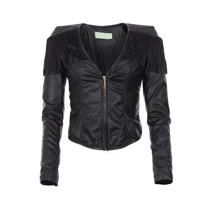 veste franges en simili cuir noir noir achat vente veste veste franges en simili cuir. Black Bedroom Furniture Sets. Home Design Ideas