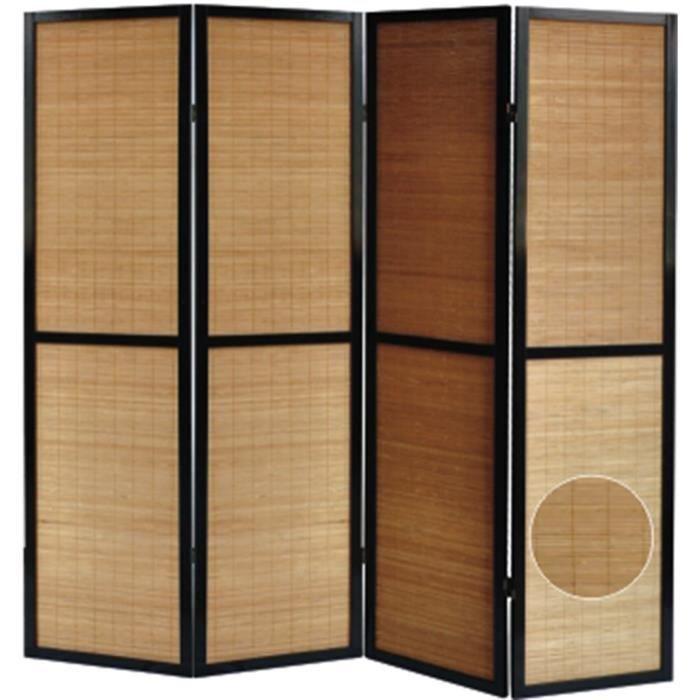 paravent en bois noir et bambou de 4 pans achat vente paravent cdiscount. Black Bedroom Furniture Sets. Home Design Ideas
