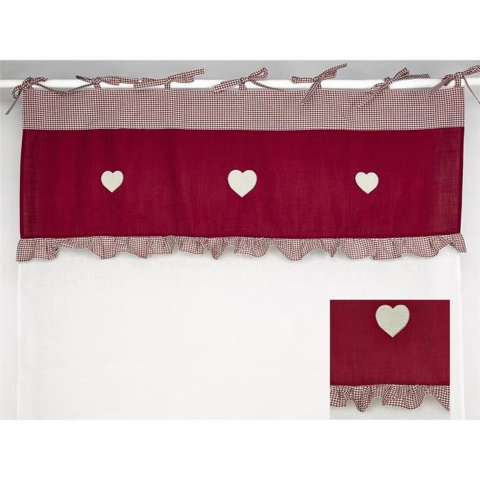 simla rideau voilage blanc et cantonni re beige et rouge simla rouge 140 x 280 cm. Black Bedroom Furniture Sets. Home Design Ideas