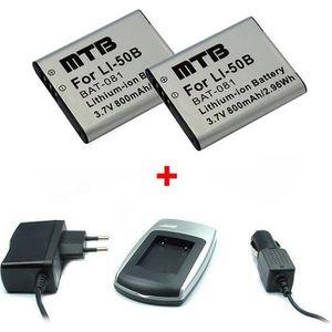 BATTERIE APPAREIL PHOTO Chargeur + 2x Batteries Li-50b pour Olympus