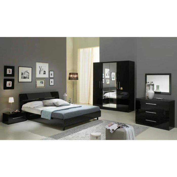 Gloria noir laquee ensemble chambre a coucher ar 4 portes lit 160 achat v - Chambre a coucher cdiscount ...