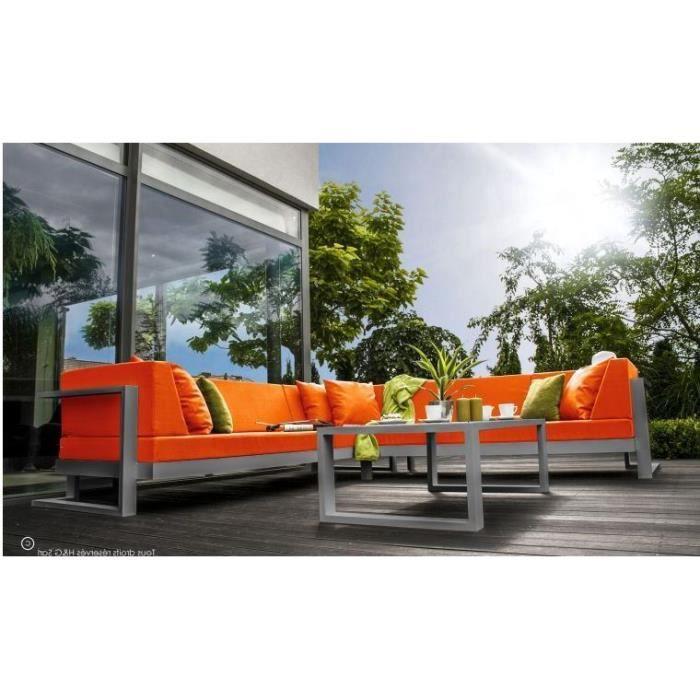 Salon de jardin 6 places angle droite toscane gris alu for Jardin de toscane