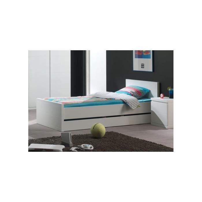lit enfant blanc laqu 90 x 200 cm tchoupilou 90cm blanc laqu achat vente structure de. Black Bedroom Furniture Sets. Home Design Ideas