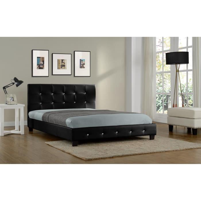 lit notting hill cadre de lit en simili capitonn noir 140x190cm achat vente structure. Black Bedroom Furniture Sets. Home Design Ideas