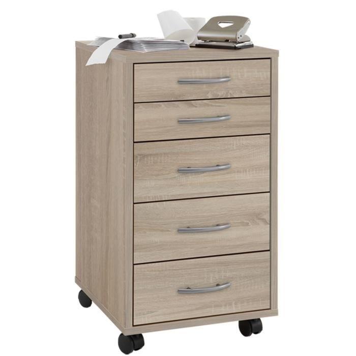 caisson de bureau sur roulettes avec 5 tiroirs coloris ch ne l33 x h63 5 x p38 cm achat. Black Bedroom Furniture Sets. Home Design Ideas