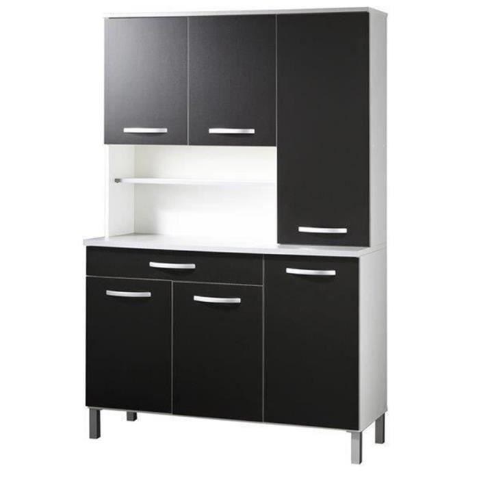 buffet de cuisine avec 6 portes et tiroir coloris blanc et noir h 181 x l 120 x p 44 cm achat. Black Bedroom Furniture Sets. Home Design Ideas