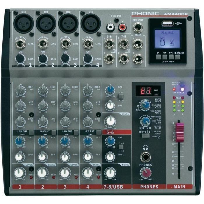 table de mixage phonic am440dp table de mixage prix pas. Black Bedroom Furniture Sets. Home Design Ideas